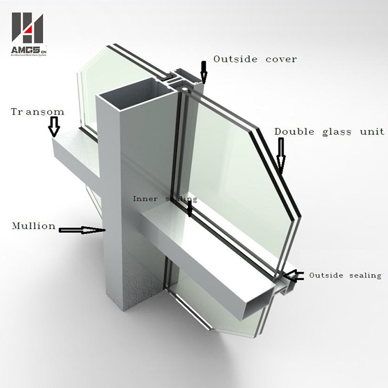 AMGS Reflection Glass Aluminum Curtain Wall For Exterior Facade Building Frame Glass Curtain Wall image14