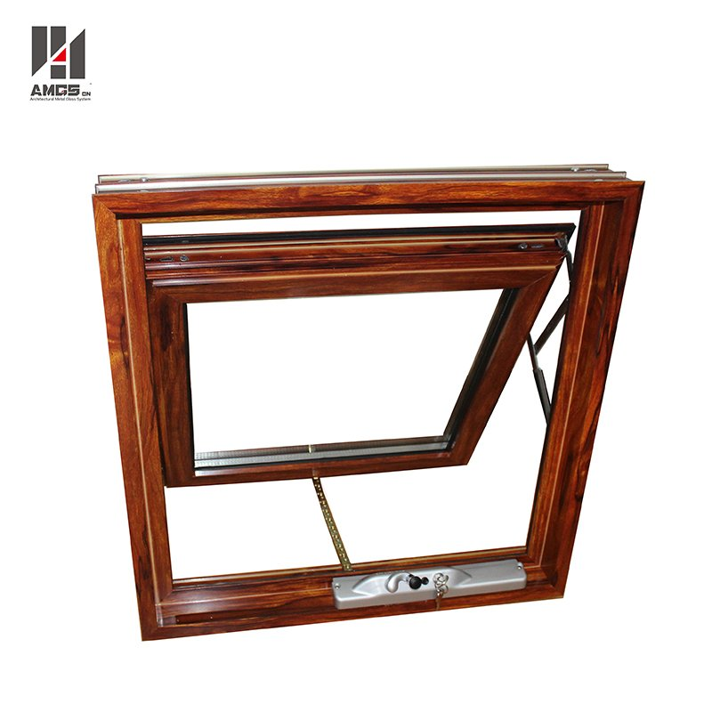 AMGS Australian Standard Woodgrain Color Aluminium Window Awning With Double Glass Aluminum Awning Windows image26