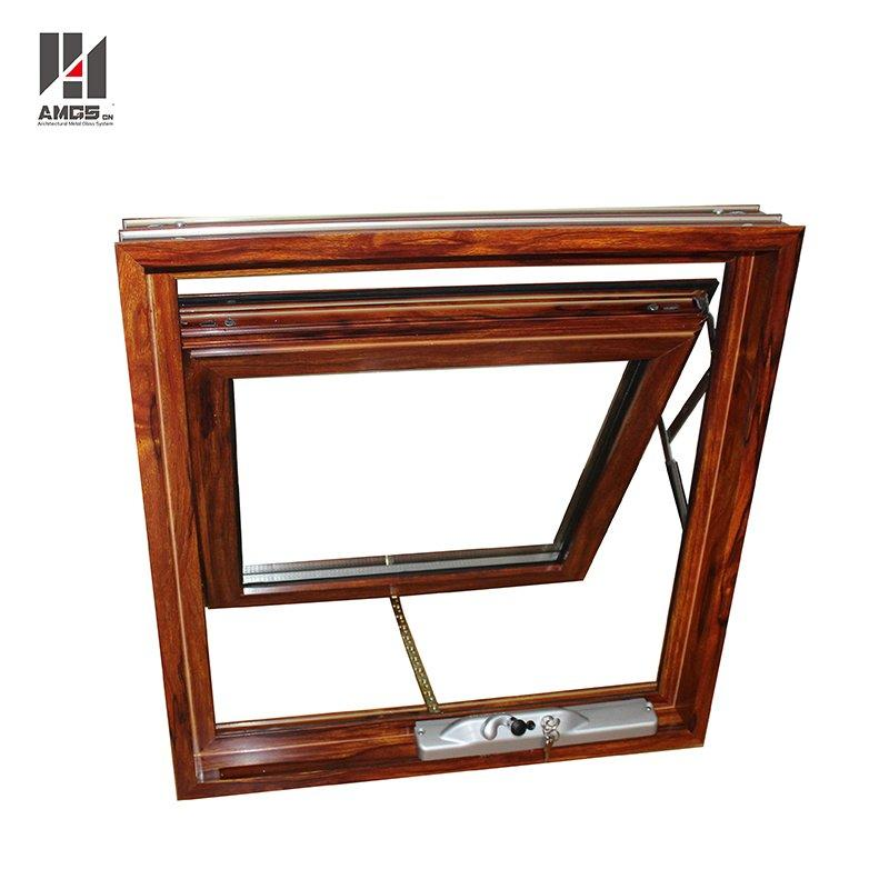 Australian Standard Woodgrain Color Aluminium Window Awning With Double Glass