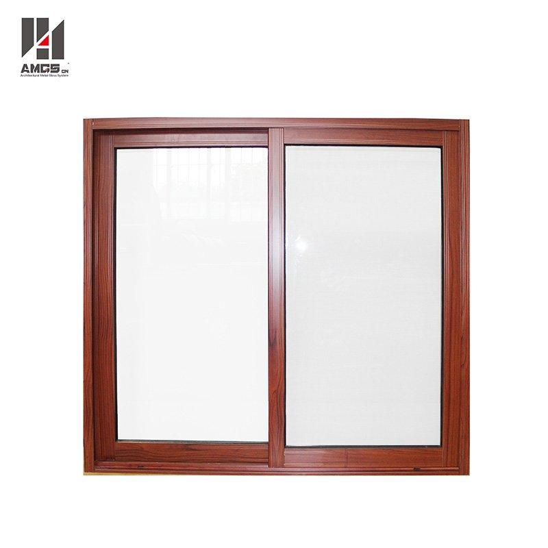 Modern Wood Grain Aluminum Sliding Windows