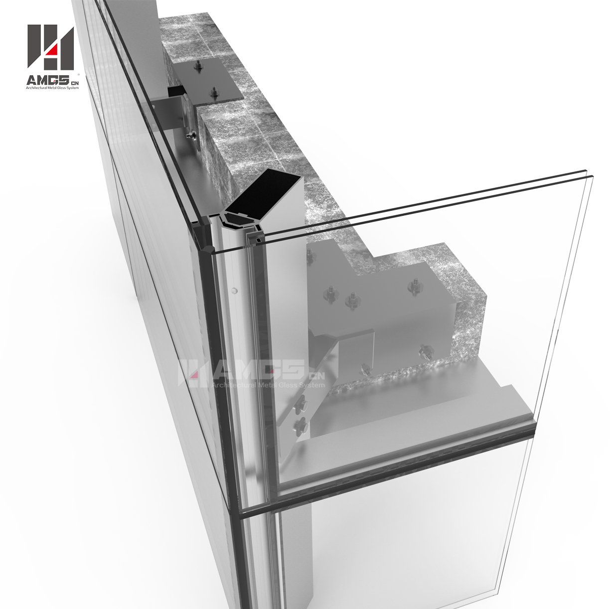 AMGS Frameless Glass Curtain Wall For Commercial Building Frameless Glass Curtain Wall image15