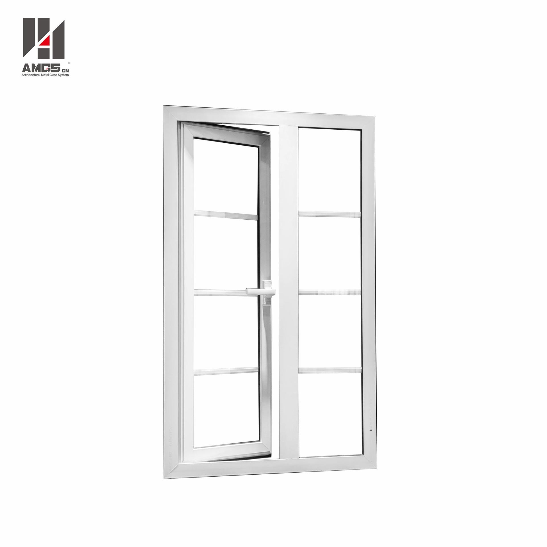 White Aluminum Casement Doors Windows With Grill Design