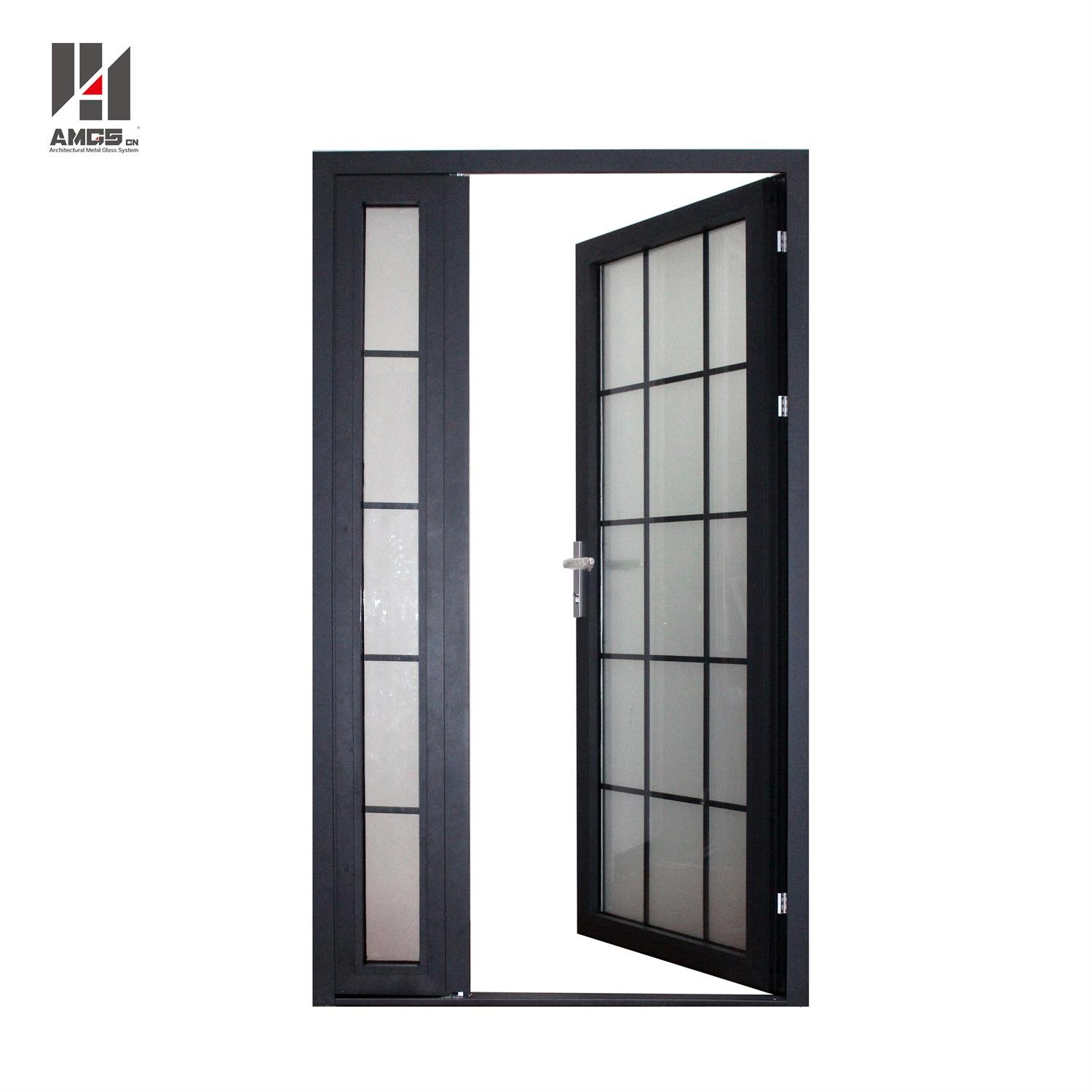AMGS Aluminum Swing Doors With Frosted Glass For Exterior Front Door Aluminum Swing Doors image9