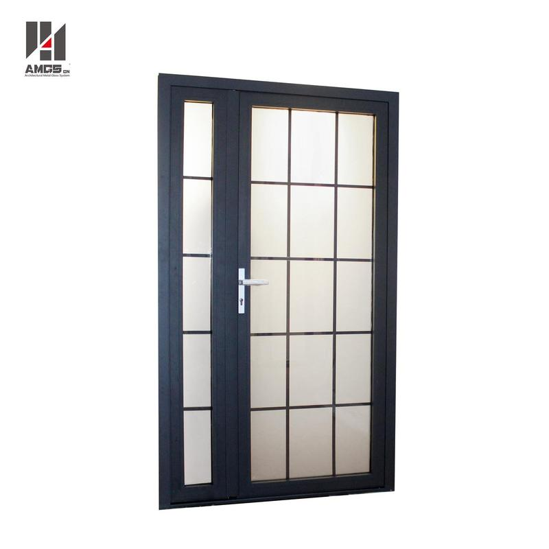 Aluminum Swing Doors With Frosted Glass For Exterior Front Door