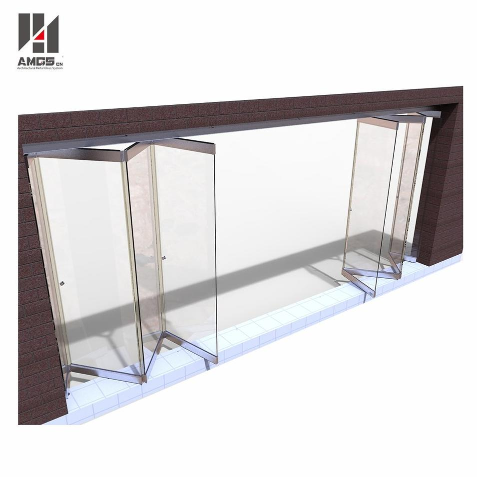 Frameless Folding Glass Doors For Commercial Shop Or Office Partition