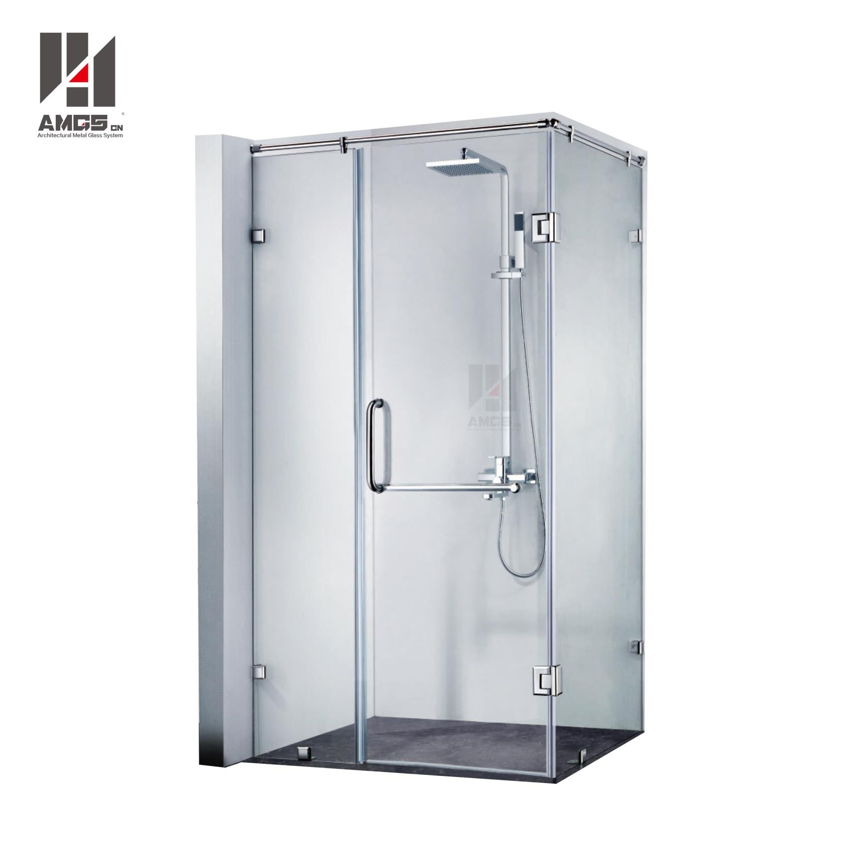 Bathroom Frameless Swing Tempered Clear Glass Shower Doors