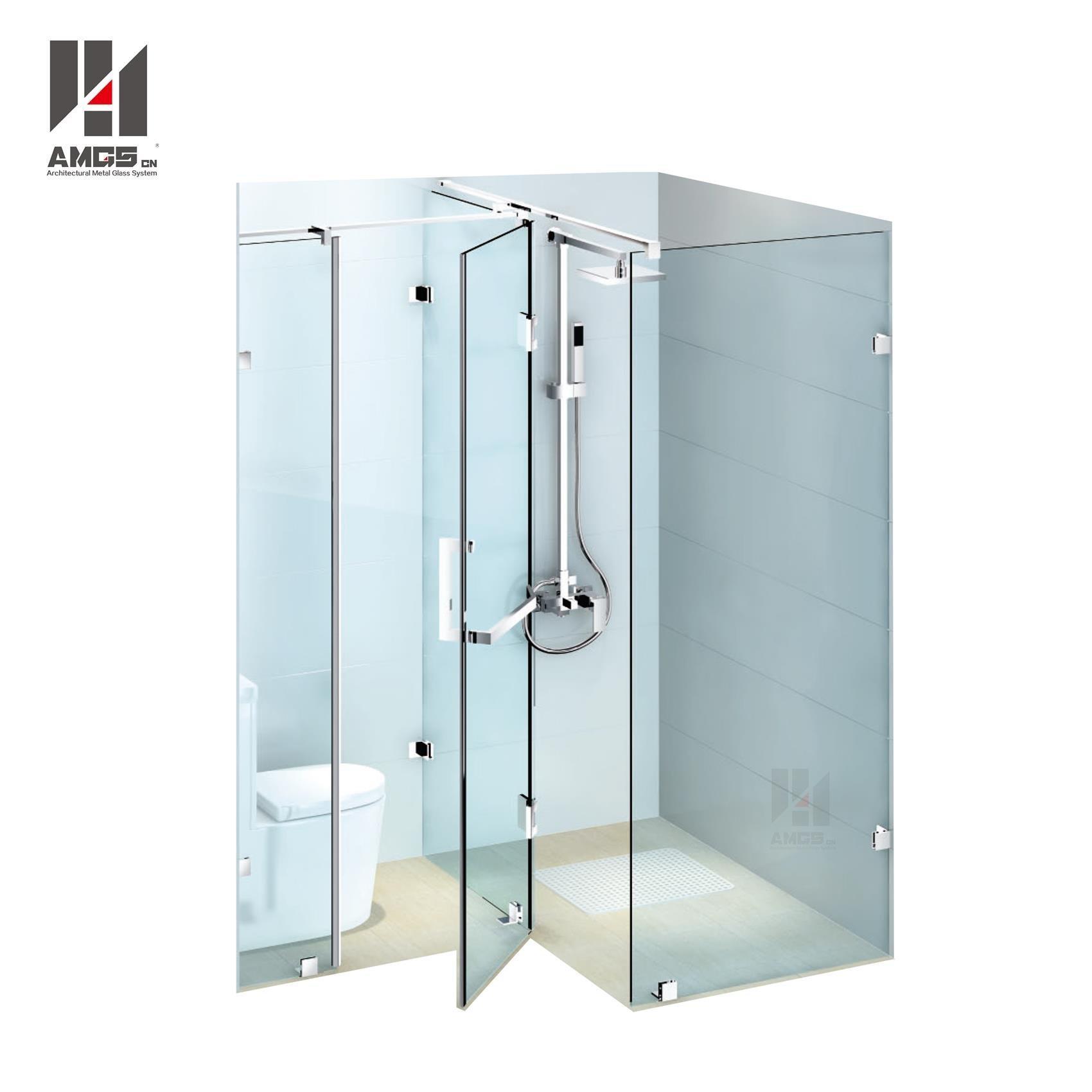 Bathroom Frameless Swing Tempered Clear Glass Shower Doors