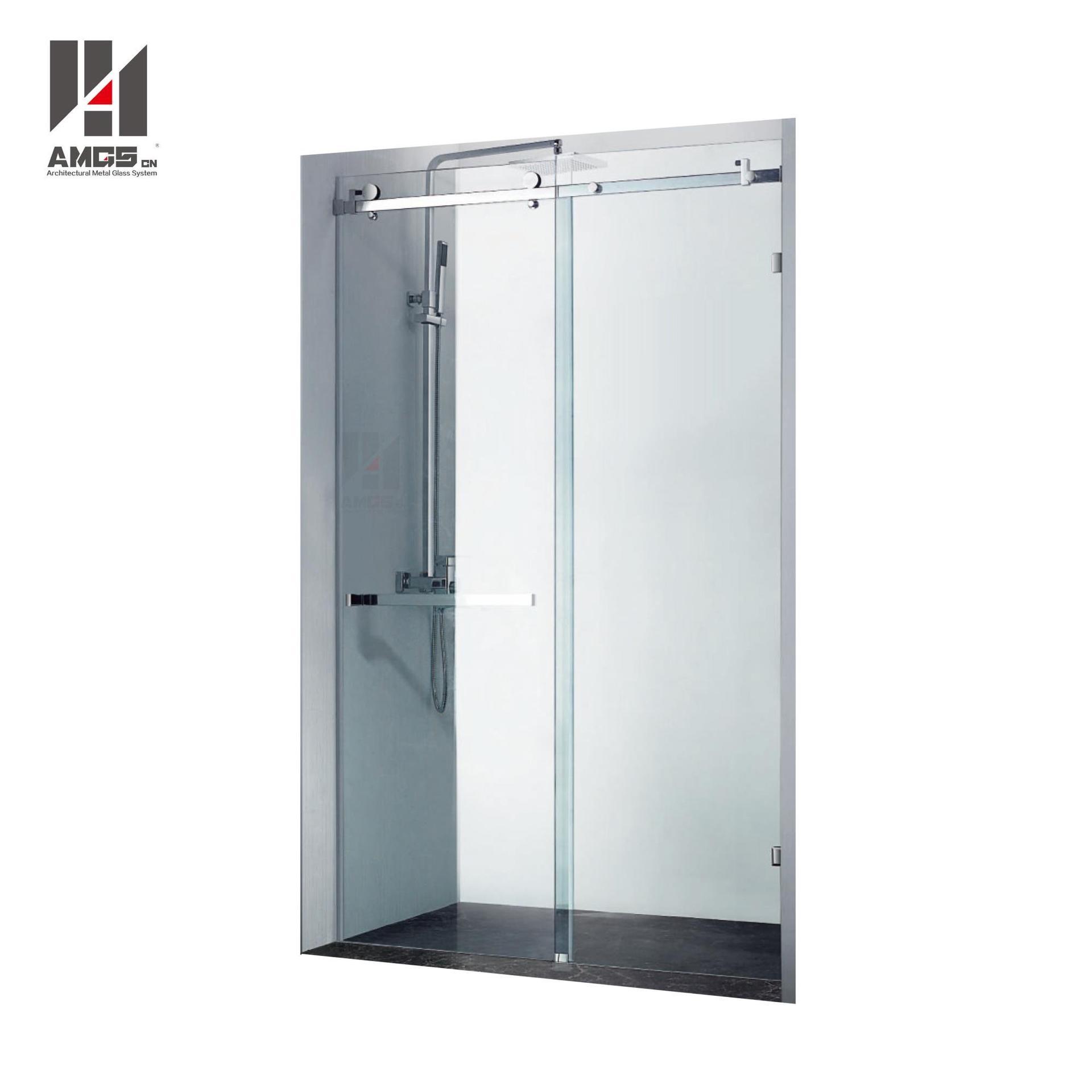 Bathroom Frameless Shower Sliding Doors With 8-12mm Tempered Glass