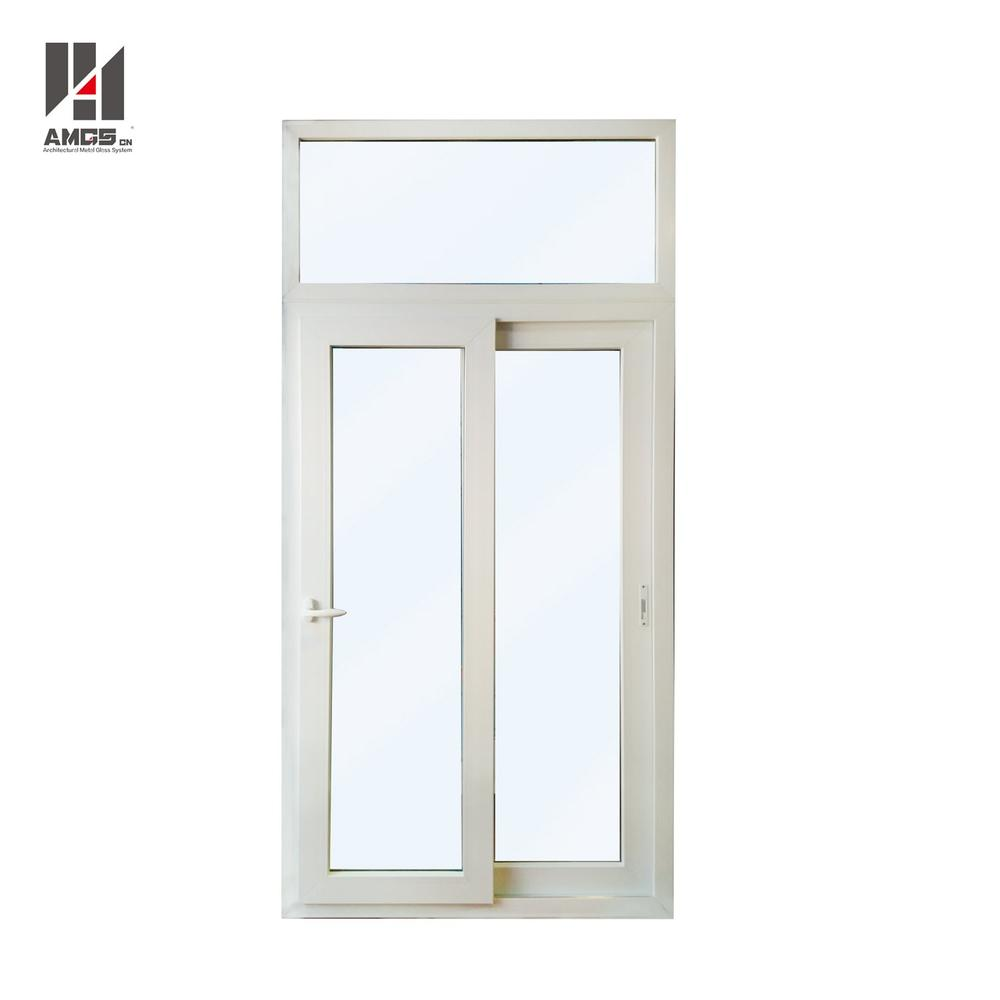Waterproof White Pvc Sliding Door With Double Tempered Glass For Balcony