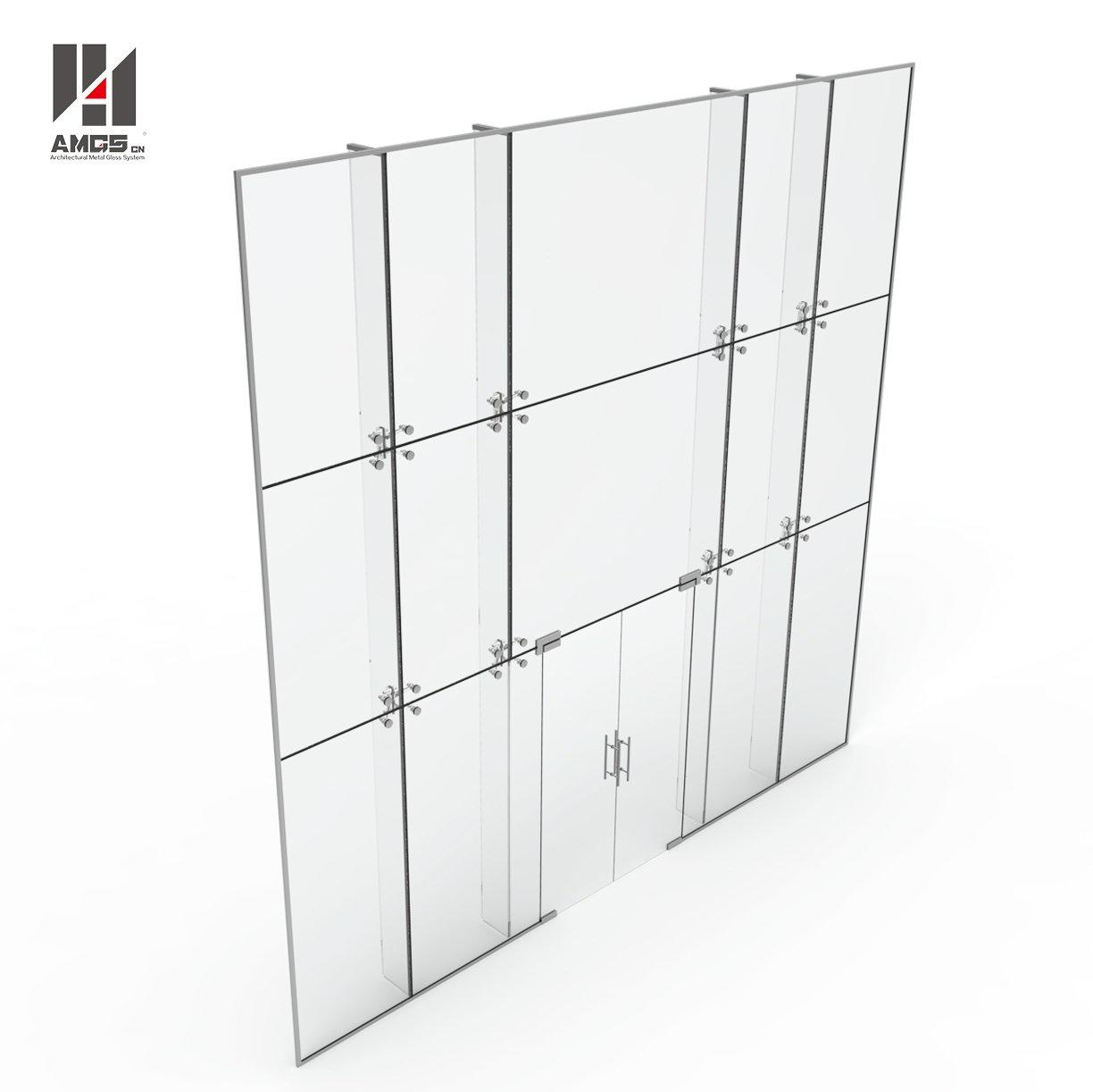 Commercial Building Point Support Glass Curtain Wall With Laminated Glass