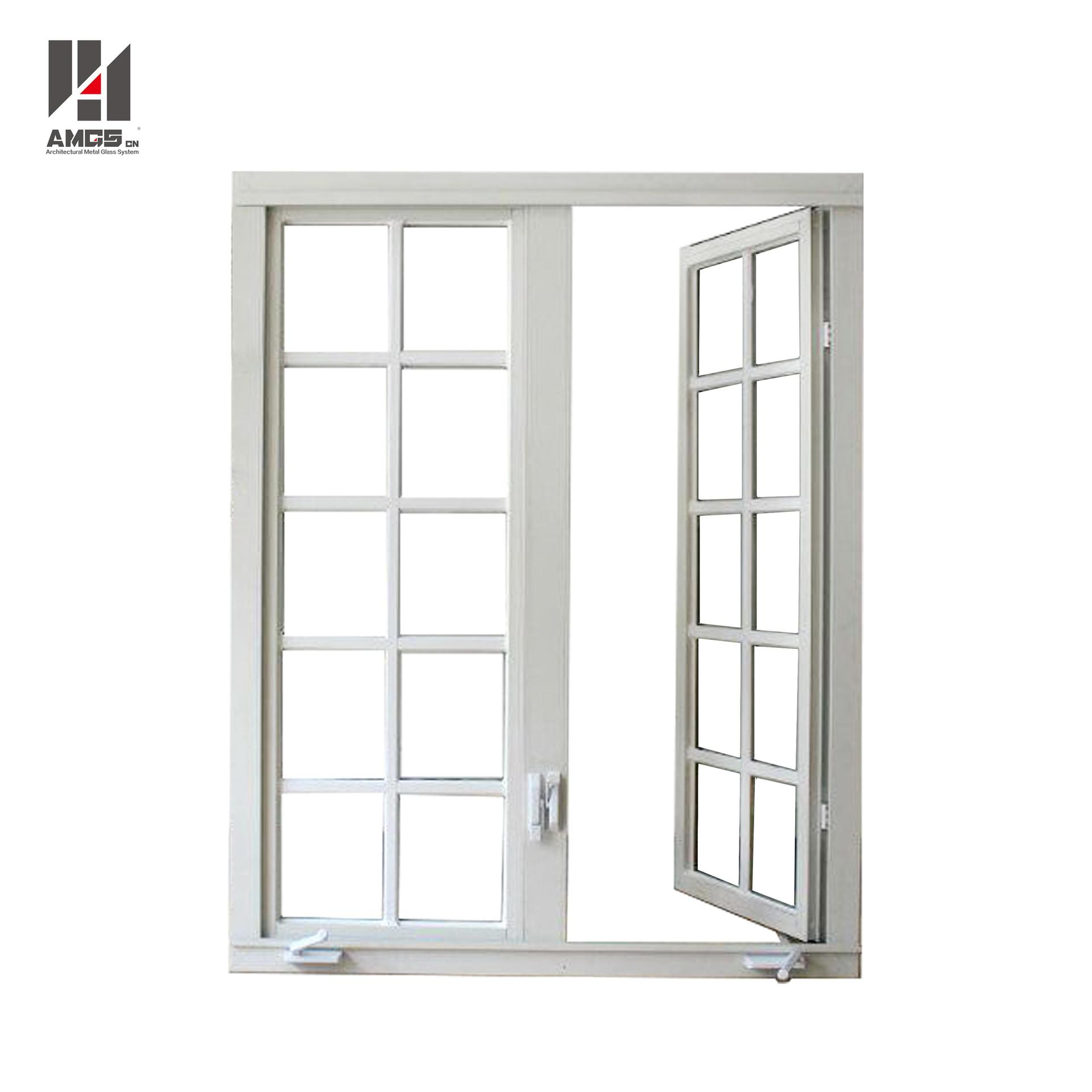 American Grille Design Casement Aluminium Crank Windows With Tempered Glass