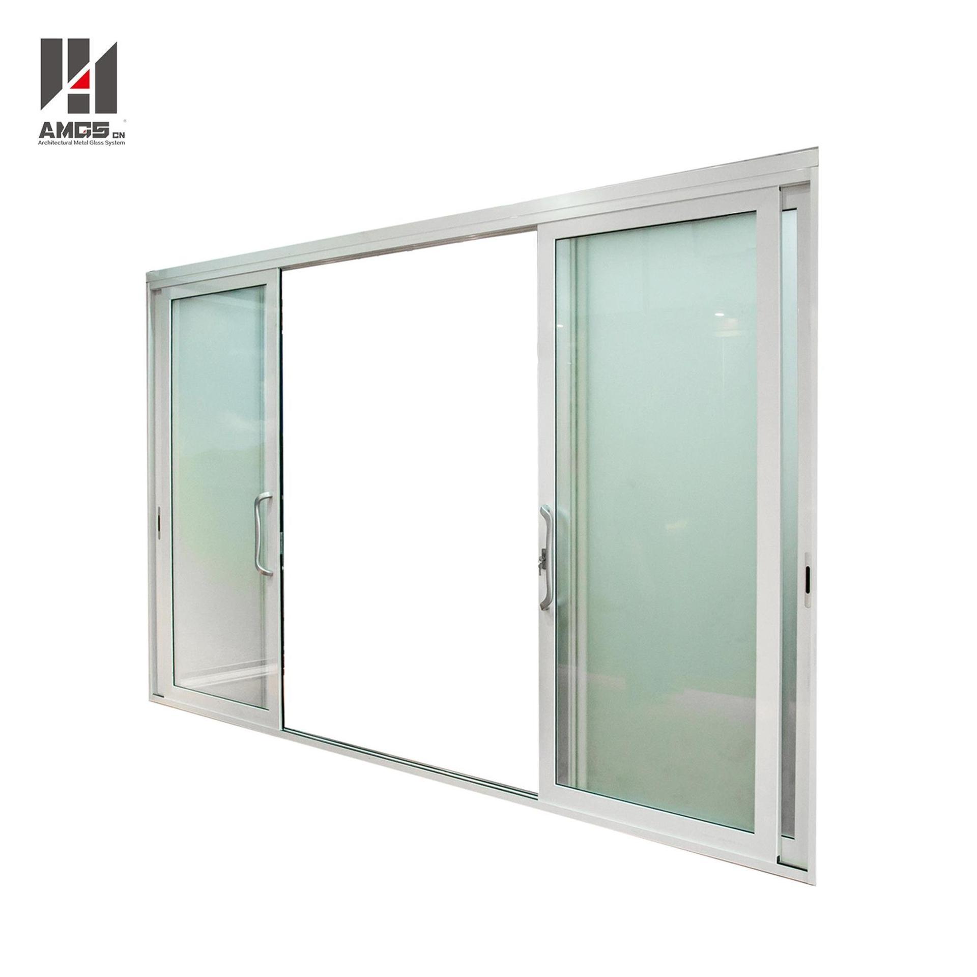 White Aluminium Sliding Door With Single Or Double Glazing