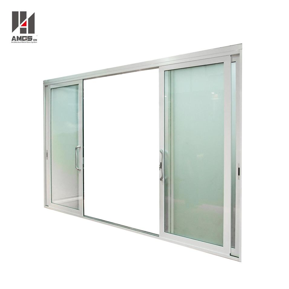 White Aluminium Sliding Door With Single Or Double Glazing