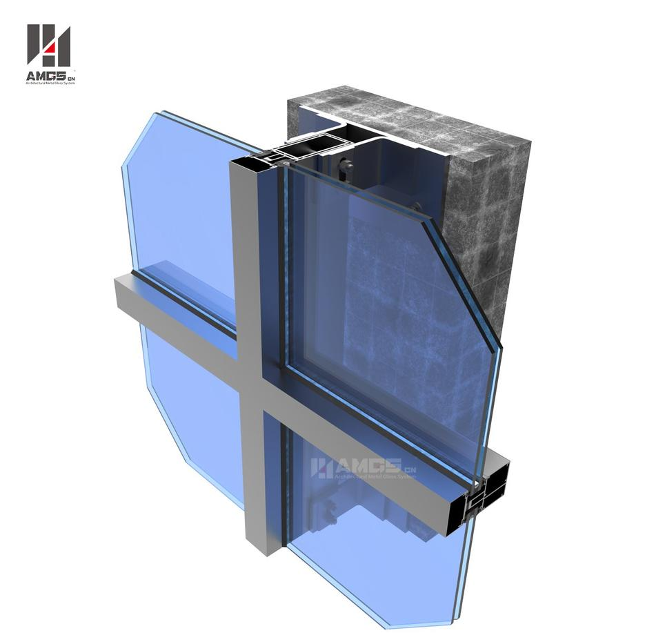 Aluminum Frame Glass Curtain Wall For Commercial Building