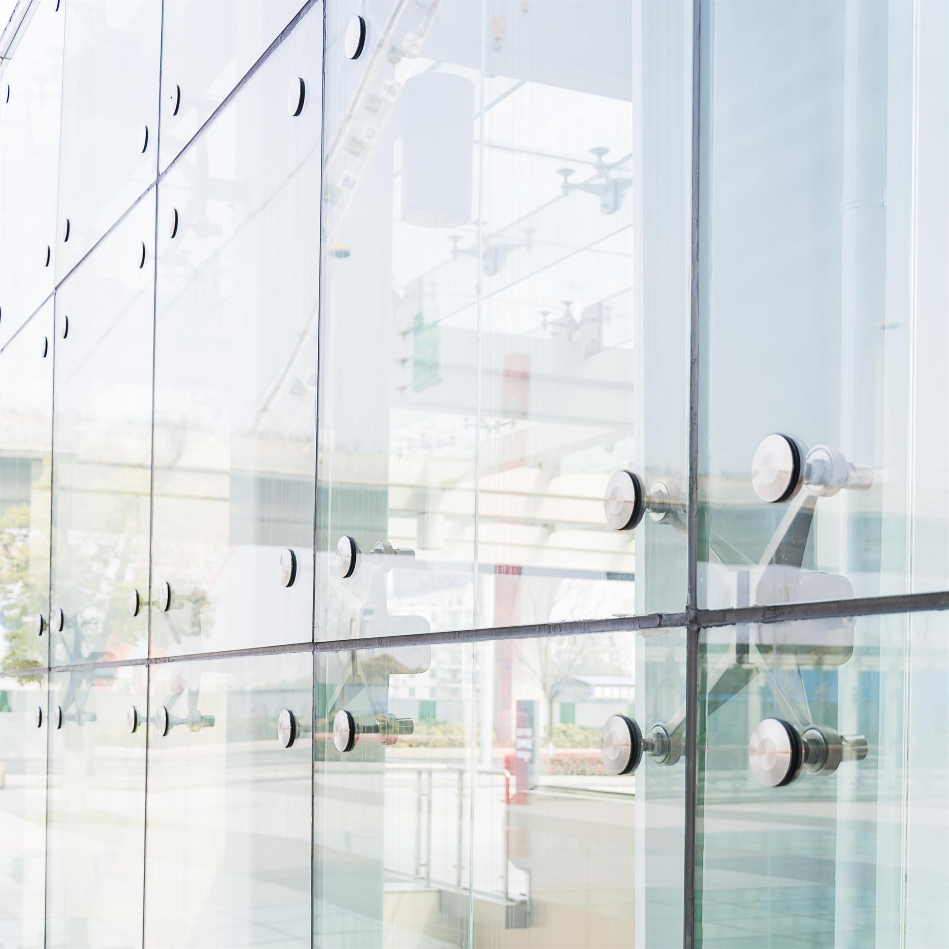 Point Supported Glass Curtain Wall For Modern Exterior Building Office Glass Walls