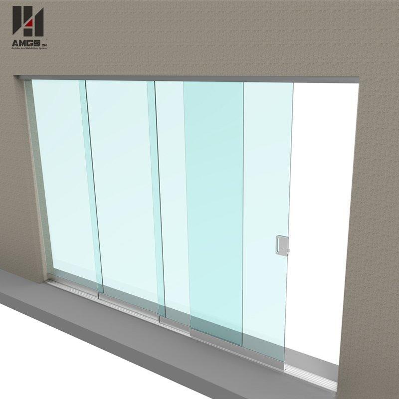 Commercial exterior balcony tempered glass frameless sliding door