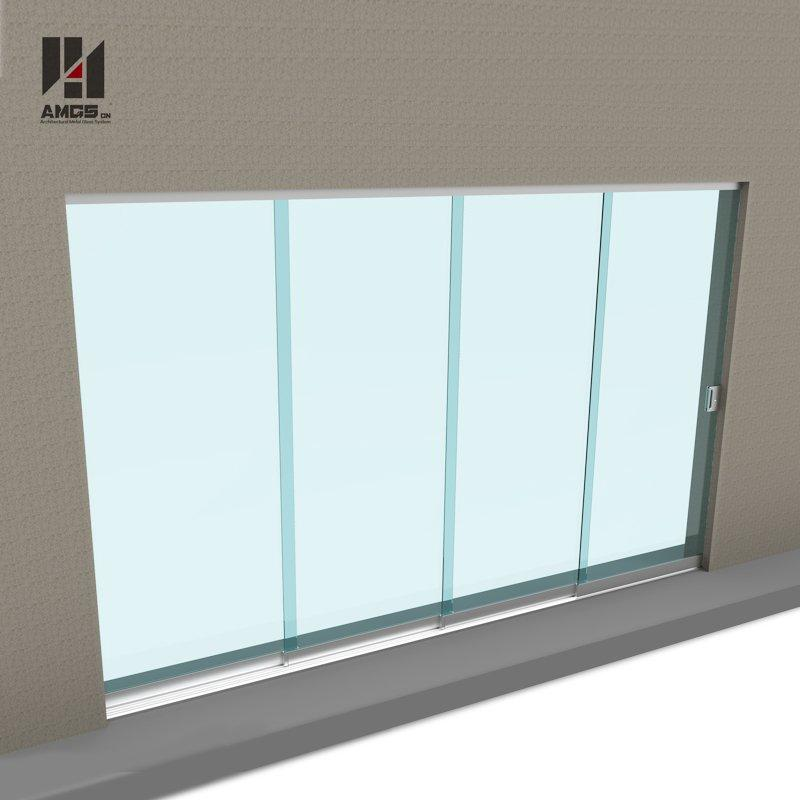 Commercial exterior balcony tempered glass frameless sliding door