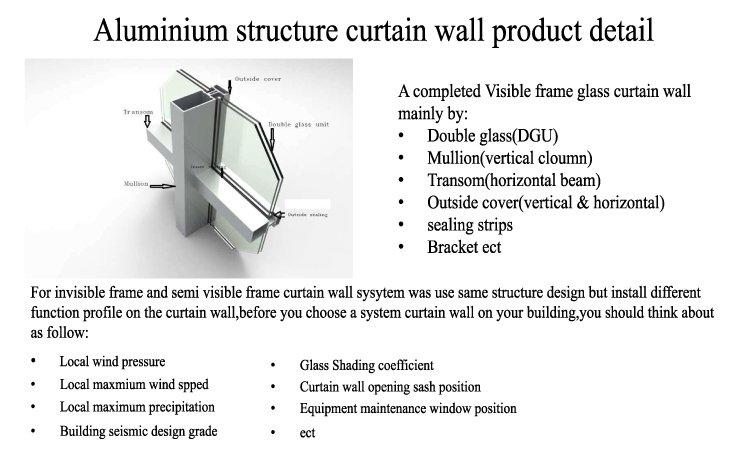 Best Double Glazed Curtain Wall For Exterior Facade Manufacture