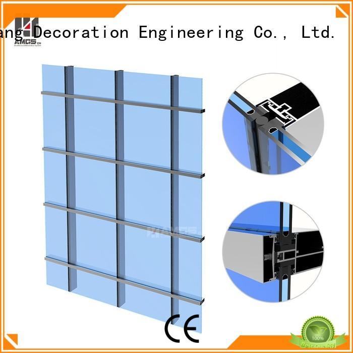glazed aluminum curtain wall curtain panel unit AMGS Brand glazed curtain wall